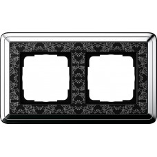 Рамка 2-постовая Gira ClassiX Art хром/черный 0212682