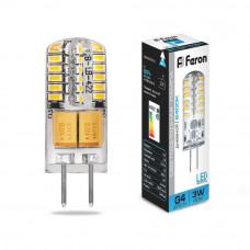 Лампа светодиодная Feron G4 3W 6400K прозрачная LB-422 25533