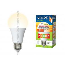 Лампа светодиодная диммируемая Volpe LED-A60-8W/WW/E27/FR/DIM/O